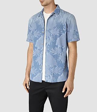 Hombre Manuka Short Sleeve Shirt (LIGHT INDIGO BLUE) - product_image_alt_text_3