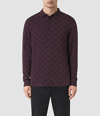 Hommes Rolla Long Sleeve Shirt (Damson Red)