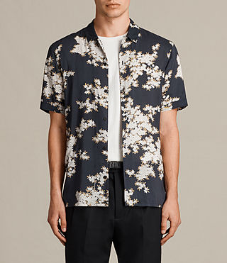 Hombre Camisa de manga corta Hanami (Washed Black) - product_image_alt_text_1