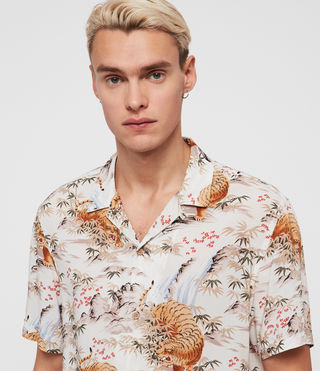 Mens Sumatra Short Sleeve Shirt (ECRU WHITE) - product_image_alt_text_1