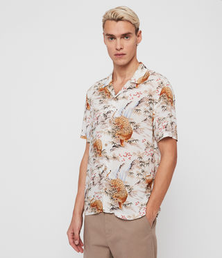 Mens Sumatra Short Sleeve Shirt (ECRU WHITE) - product_image_alt_text_2