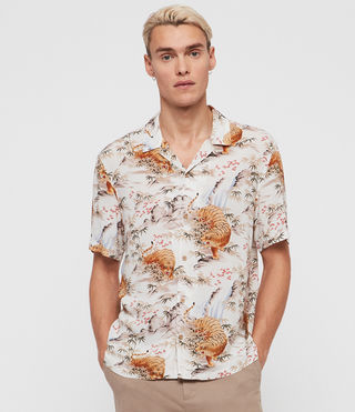 Mens Sumatra Short Sleeve Shirt (ECRU WHITE) - product_image_alt_text_3