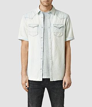 Men's Wosindi Short Sleeve Denim Shirt (BleachedIndigoblue)