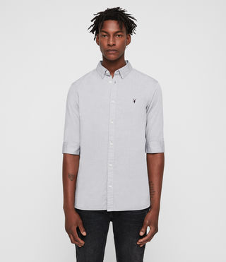 Men's Redondo Half Sleeved Shirt (Light Grey) - product_image_alt_text_4