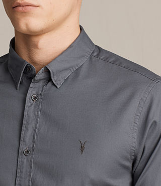 Hombres Redondo Half Sleeved Shirt (COAL GREY) - product_image_alt_text_2