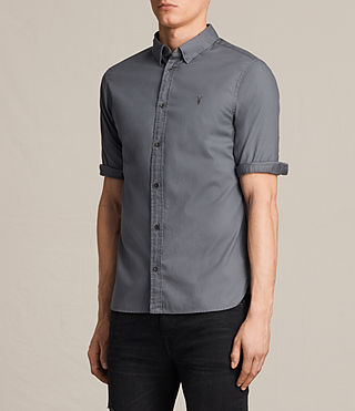Hombres Redondo Half Sleeved Shirt (COAL GREY) - product_image_alt_text_3