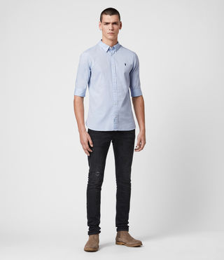 Mens Redondo Half Sleeve Shirt (Light Blue) - Image 3