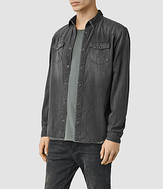 Men's Marilla Denim Shirt (Black) - product_image_alt_text_2