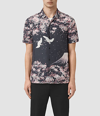 Herren Sakura Short Sleeve Shirt (Dark Grey)