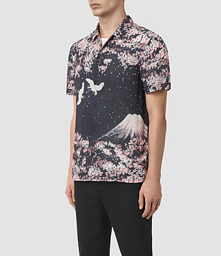 Mens Sakura Short Sleeve Shirt (Dark Grey) - product_image_alt_text_2