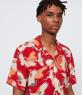 Hombre Tsuru Short Sleeve Shirt (Red) - product_image_alt_text_1