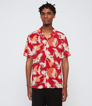 Uomo Tsuru Short Sleeve Shirt (Red) - product_image_alt_text_2