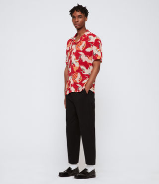Uomo Tsuru Short Sleeve Shirt (Red) - product_image_alt_text_3
