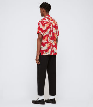 Hombre Tsuru Short Sleeve Shirt (Red) - product_image_alt_text_4