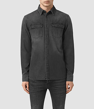 Hommes Coll Denim Shirt (Black)