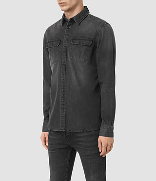 Herren Coll Denim Shirt (Black) - product_image_alt_text_2