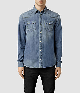 Hombres Thirst Denim Shirt (Indigo Blue)