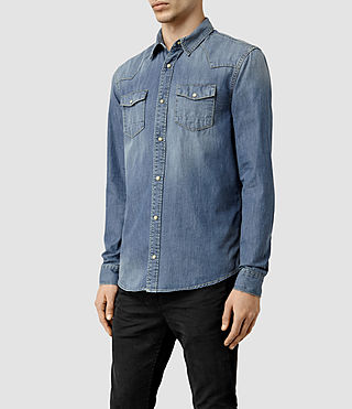 Men's Thirst Denim Shirt (Indigo Blue) - product_image_alt_text_2