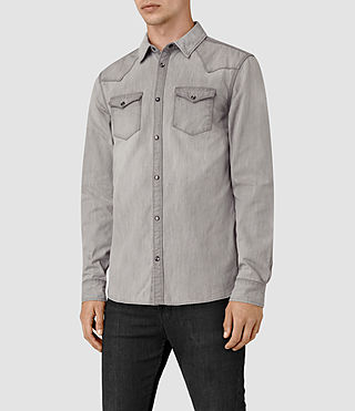 Men's Pirnmill Denim Shirt (Grey) - product_image_alt_text_4