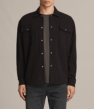 Mens Twist Denim Shirt (Washed Black) - product_image_alt_text_1