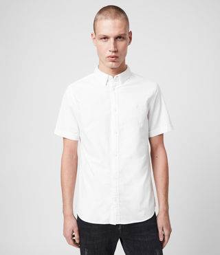 Hombres Hungtingdon Short Sleeve Shirt (White)