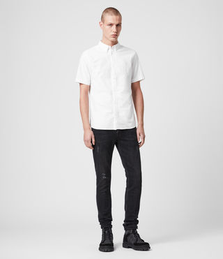 Mens Hungtingdon Short Sleeve Shirt (White) - Image 3