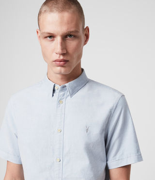 Mens Hungtingdon Short Sleeve Shirt (Light Blue) - Image 2