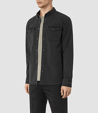 Hombres Camisa de denim Corran (Black) - product_image_alt_text_2