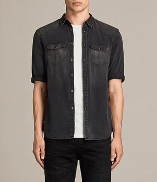 Men's Marilla Half Sleeve Denim Shirt (Black) - product_image_alt_text_1