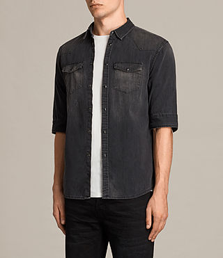 Hombres Marilla Half Sleeve Denim Shirt (Black) - product_image_alt_text_2