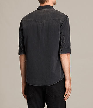 Hombres Marilla Half Sleeve Denim Shirt (Black) - product_image_alt_text_3