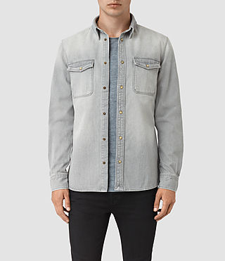 Mens Ardno Denim Shirt (Grey) - product_image_alt_text_1