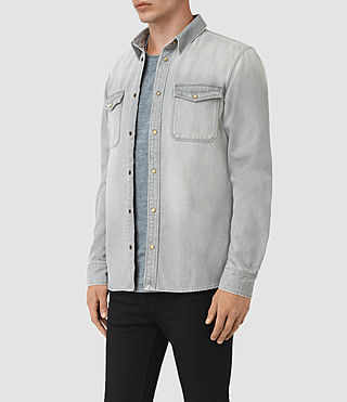 Mens Ardno Denim Shirt (Grey) - product_image_alt_text_2