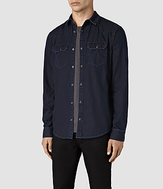 Mens Airlie Denim Shirt (DARK INDIGO BLUE) - product_image_alt_text_3