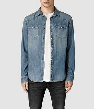 Hommes Laggan Denim Shirt (Indigo Blue)