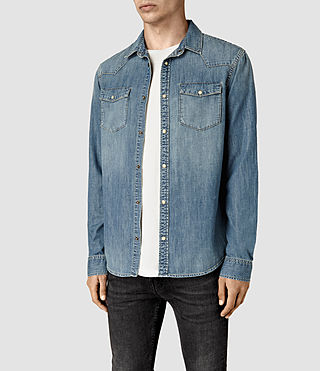 Mens Laggan Denim Shirt (Indigo Blue) - product_image_alt_text_3