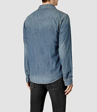 Mens Laggan Denim Shirt (Indigo Blue) - product_image_alt_text_4