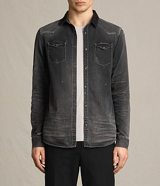 Mens Gaths Denim Shirt (Black) - product_image_alt_text_1