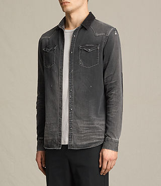 Hombres Gaths Denim Shirt (Black) - product_image_alt_text_3