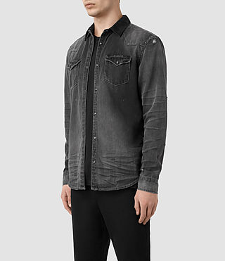 Hommes Gaths Denim Shirt (Black) - product_image_alt_text_5