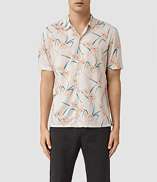 Hommes Aaru Short Sleeve Shirt (ECRU WHITE)