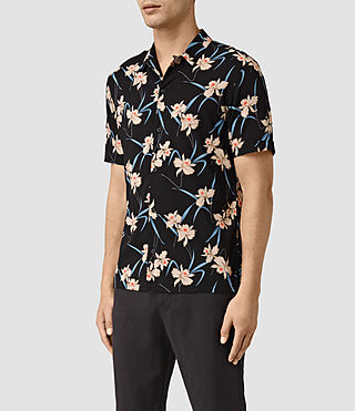 Mens Aaru Short Sleeve Shirt (Black) - product_image_alt_text_3