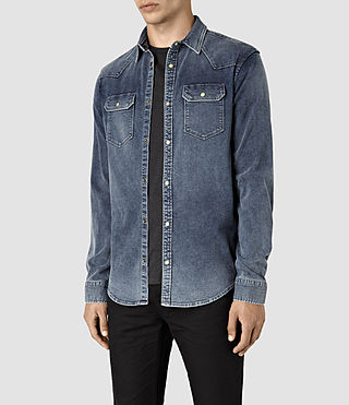 Hommes Lex Denim Shirt (Indigo Blue) - product_image_alt_text_3
