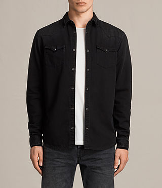 Hommes Brunt Denim Shirt (Black) -