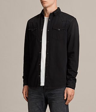 Herren Brunt Denim Shirt (Black) - Image 2