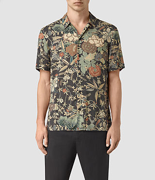 Mens Bouquet Short Sleeve Shirt (Graphite) - product_image_alt_text_1