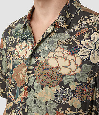 Mens Bouquet Short Sleeve Shirt (Graphite) - product_image_alt_text_2
