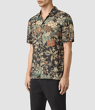 Mens Bouquet Short Sleeve Shirt (Graphite) - product_image_alt_text_3