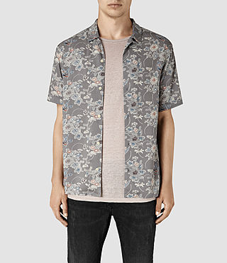 Mens Hydrangea Short Sleeve Shirt (Grey)