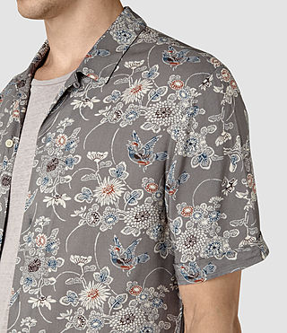 Men's Hydrangea Short Sleeve Shirt (Grey) - product_image_alt_text_2